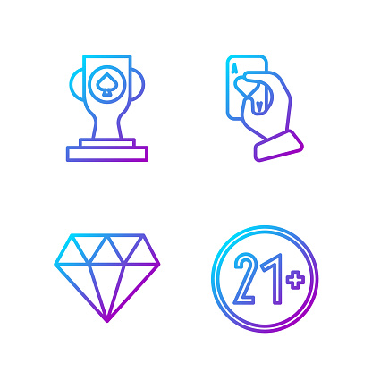 Set line 21 plus, Diamond, Casino poker trophy cup and Hand holding playing cards. Gradient color icons. Vector