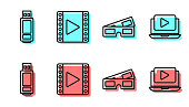 Set line 3D cinema glasses, USB flash drive, Play Video and Online play video icon. Vector