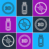 istock Set line 3D word, CD or DVD disk and USB flash drive icon. Vector 1253317093