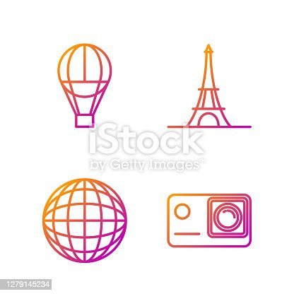 istock Set line Action extreme camera, Earth globe, Hot air balloon and Eiffel tower. Gradient color icons. Vector 1279145234