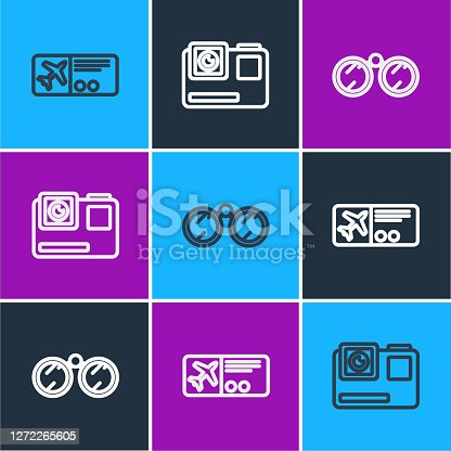 Set line Airline ticket, Binoculars and Action extreme camera icon. Vector.