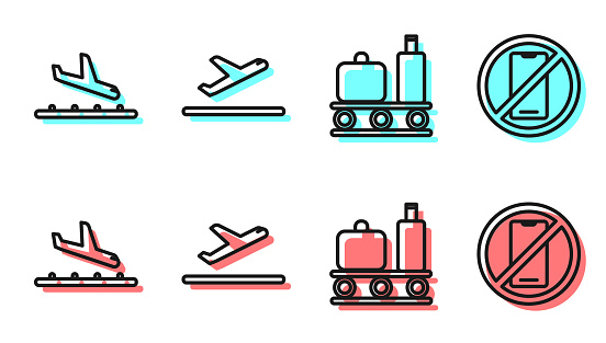 Set line Airport conveyor belt with suitcase, Plane landing, Plane takeoff and No cell phone icon. Vector