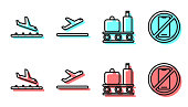 istock Set line Airport conveyor belt with suitcase, Plane landing, Plane takeoff and No cell phone icon. Vector 1267486691