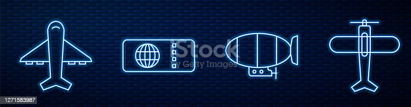 Set line Airship, Plane, Airline ticket and Plane. Glowing neon icon on brick wall. Vector