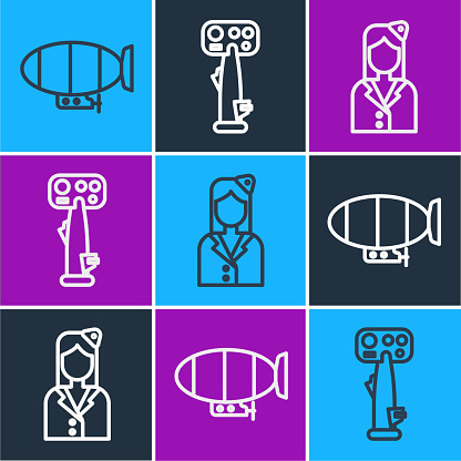 Set line Airship, Stewardess and Aircraft steering helm icon. Vector