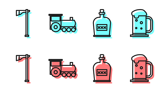 Set line Alcohol drink Rum bottle, Tomahawk axe, Retro train and Wooden beer mug icon. Vector
