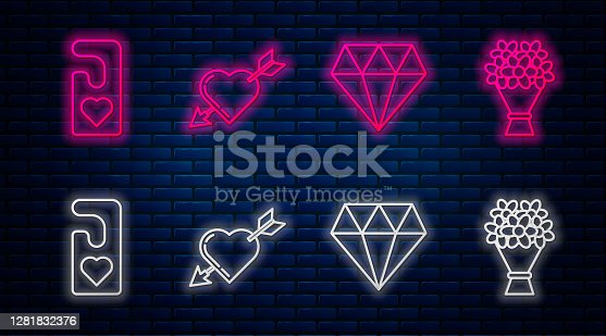 istock Set line Amour symbol with heart and arrow, Diamond, Please do not disturb with heart and Bouquet of flowers. Glowing neon icon on brick wall. Vector 1281832376