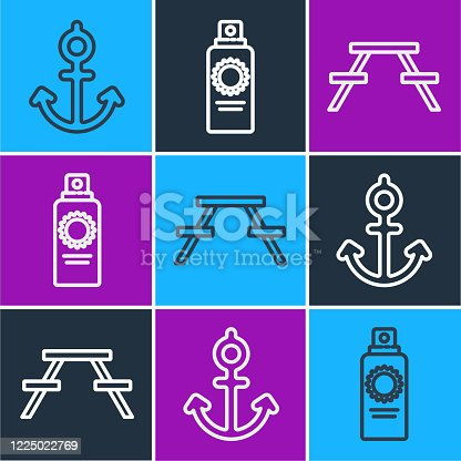Set line Anchor, Picnic table with benches and Sunscreen spray bottle icon. Vector