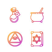 istock Set line Ancient magic book, Masons, Bottle with love potion and Witch cauldron. Gradient color icons. Vector 1271334169