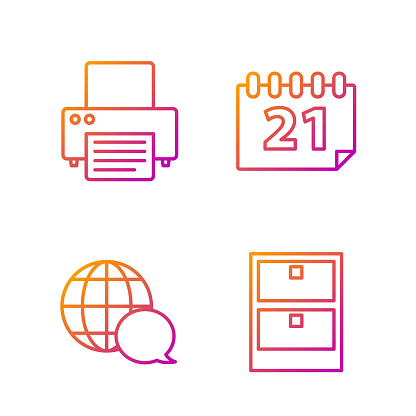 Set line Archive papers drawer, World map made from speech bubble, Printer and Calendar. Gradient color icons. Vector