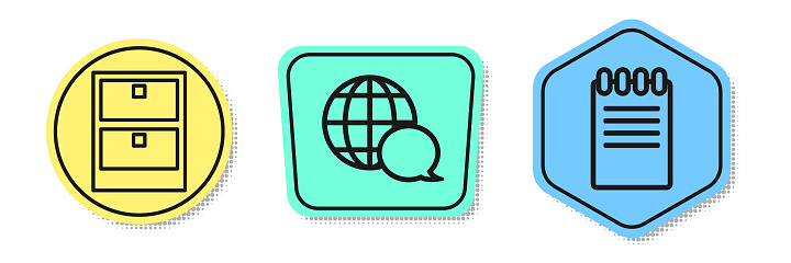 Set line Archive papers drawer, World map made from speech bubble and Notebook. Colored shapes. Vector