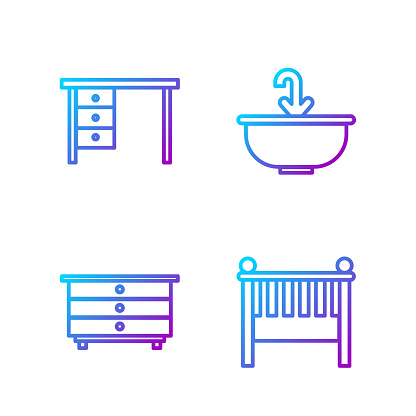 Set line Baby crib cradle bed, Chest of drawers, Office desk and Washbasin with water tap. Gradient color icons. Vector