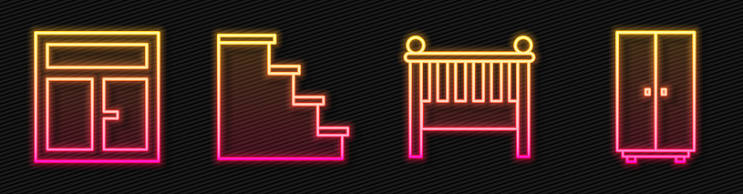 Set line Baby crib cradle bed, Window in the room, Staircase and Wardrobe. Glowing neon icon. Vector