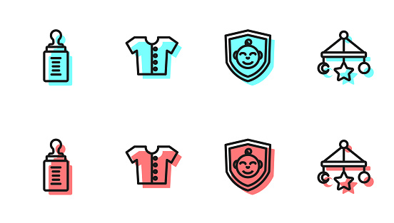 Set line Baby on shield, bottle, t-shirt and crib hanging toys icon. Vector