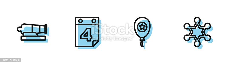 istock Set line Balloons, Cannon, Calendar with date July 4 and Hexagram sheriff icon. Vector 1321563630