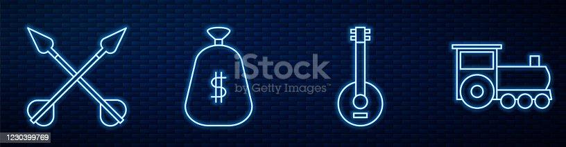 Set line Banjo, Crossed arrows, Money bag, Retro train and Saloon door. Glowing neon icon on brick wall. Vector