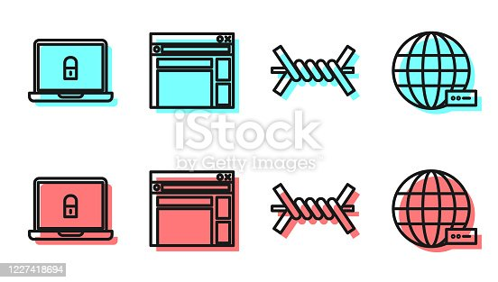 istock Set line Barbed wire, Laptop and lock, Website template and Social network icon. Vector 1227418694