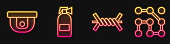 Set line Barbed wire, Motion sensor, Fire extinguisher and Graphic password protection. Glowing neon icon. Vector