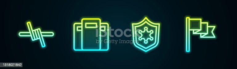 istock Set line Barbed wire, Police assault shield, badge and Location marker. Glowing neon icon. Vector 1318021842