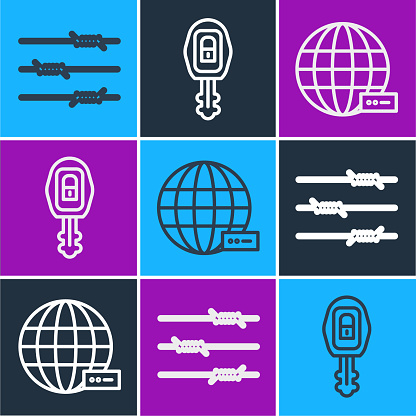 Set line Barbed wire, Social network and Car key with remote icon. Vector