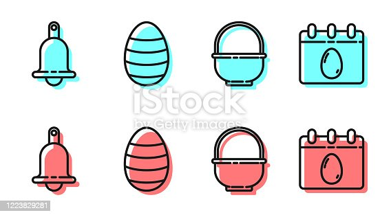 istock Set line Basket, Ringing bell, Easter egg and Calendar with Easter egg icon. Vector 1223829281