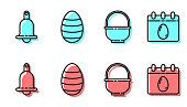 Set line Basket, Ringing bell, Easter egg and Calendar with Easter egg icon. Vector