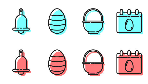 Set line Basket, Ringing bell, Easter egg and Calendar with Easter egg icon. Vector Set line Basket, Ringing bell, Easter egg and Calendar with Easter egg icon. Vector holiday and seasonal icons stock illustrations