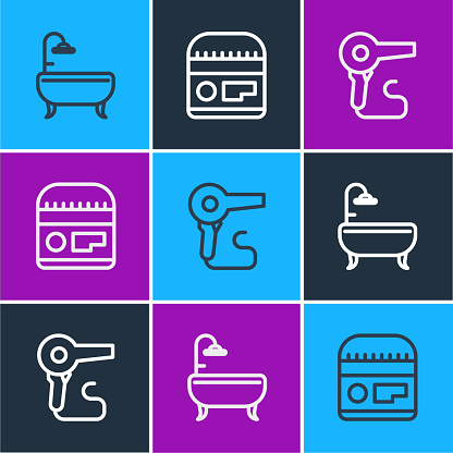 Set line Bathtub, Hair dryer and Cream or lotion cosmetic tube icon. Vector