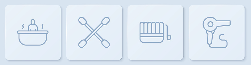 Set line Bathtub, Sauna bucket and ladle, Cotton swab for ears and Hair dryer. White square button. Vector