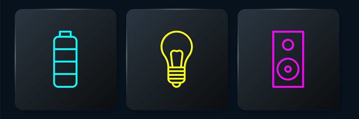 Set line Battery charge level indicator, Stereo speaker and Light bulb with concept of idea. Black square button. Vector