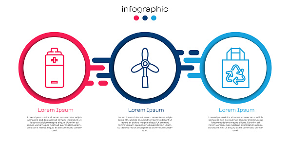 Set line Battery, Wind turbine and Paper bag with recycle. Business infographic template. Vector