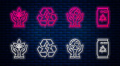 Set line Battery with recycle symbol, Human hands holding Earth globe, Plant in hand of environmental protection and Can with recycle symbol and can. Glowing neon icon on brick wall. Vector