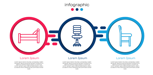 Set line Bed, Office chair and Chair. Business infographic template. Vector