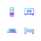 istock Set line Bed, Taxi car roof, Please do not disturb and Smart Tv. Gradient color icons. Vector 1272265549