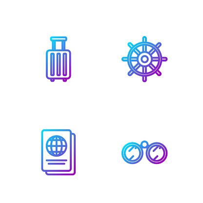 Set line Binoculars, Passport, Suitcase and Ship steering wheel. Gradient color icons. Vector