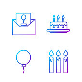 Set line Birthday cake candles, Balloon with ribbon, Invitation and Cake with burning candles. Gradient color icons. Vector