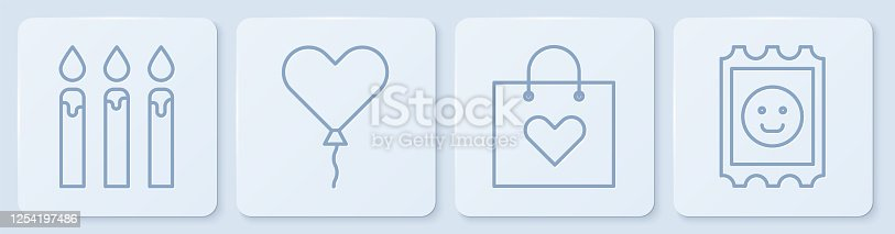 istock Set line Birthday cake candles, Shopping bag with heart, Balloon in form of heart and LSD acid mark. White square button. Vector 1254197486