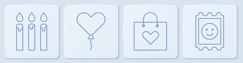 Set line Birthday cake candles, Shopping bag with heart, Balloon in form of heart and LSD acid mark. White square button. Vector