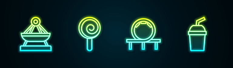 Set line Boat swing, Lollipop, Roller coaster and Paper glass with water. Glowing neon icon. Vector