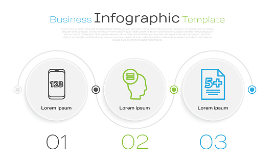 Set line Book with word mathematics, Test or exam sheet and Calculator. Business infographic template. Vector