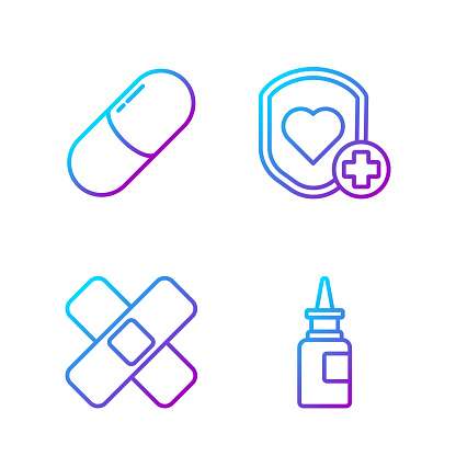 Set line Bottle nasal spray, Crossed bandage plaster, Medicine p