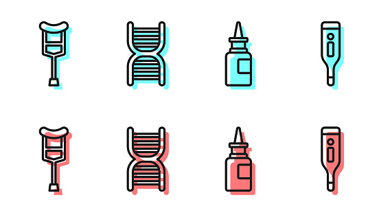 Set line Bottle nasal spray, Crutch or crutches, DNA symbol and Medical digital thermometer icon. Vector