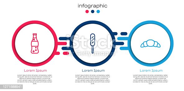 istock Set line Bottle of water, Corn dog and Croissant. Business infographic template. Vector 1271588541