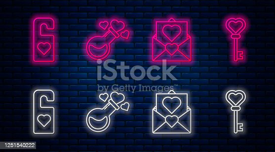 istock Set line Bottle with love potion, Envelope with Valentine heart, Please do not disturb with heart and Key in heart shape. Glowing neon icon on brick wall. Vector 1251540222
