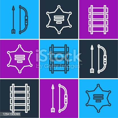istock Set line Bow and arrow in quiver, Railway, railroad track and Hexagram sheriff icon. Vector 1254193093