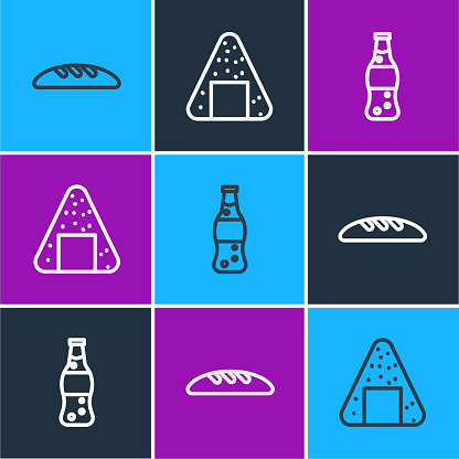 Set line Bread loaf, Bottle of water and Onigiri icon. Vector