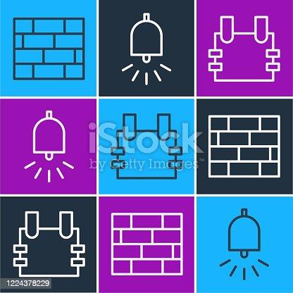 Set line Bricks, Bulletproof vest and Ringing alarm bell icon. Vector