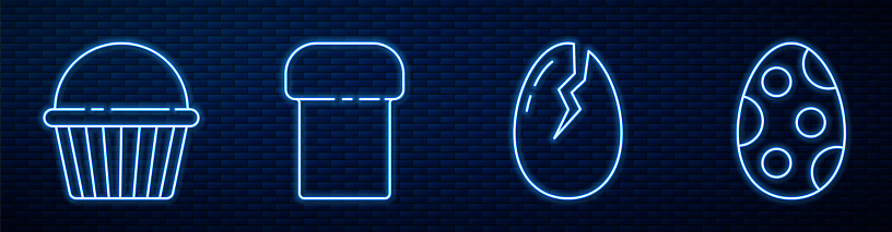 Set line Broken egg, Easter cake, Easter cake and Easter egg. Glowing neon icon on brick wall. Vector