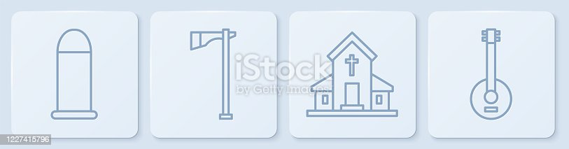 Set line Bullet, Church building, Tomahawk axe and Banjo. White square button. Vector
