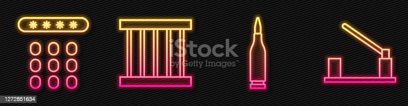 istock Set line Bullet, Password protection, Prison window and Parking car barrier. Glowing neon icon. Vector 1272851634